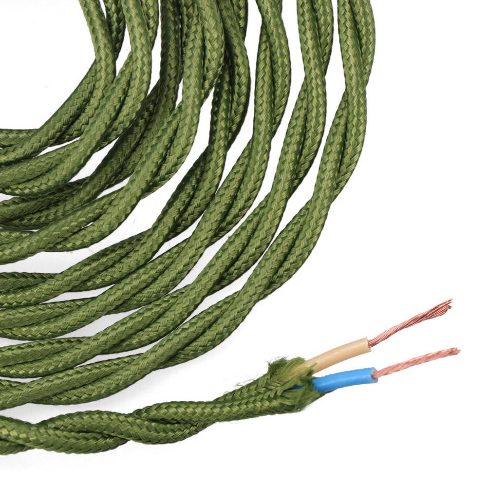 Cable Textil Trenzado 2X0,75Mm C-18 Verde Seda 5M
