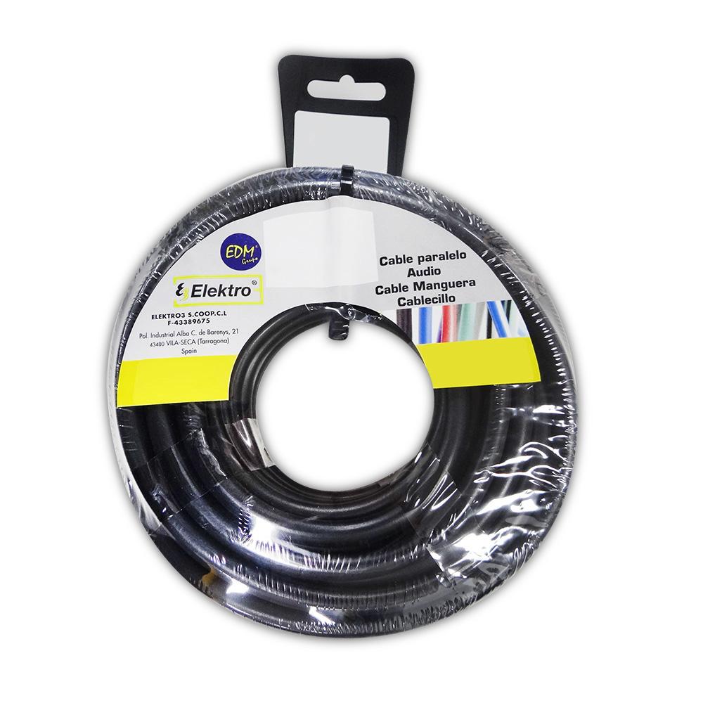 Cable Textil 2X0,75 Pvc 25Mts Negro Solo Para Iluminacion