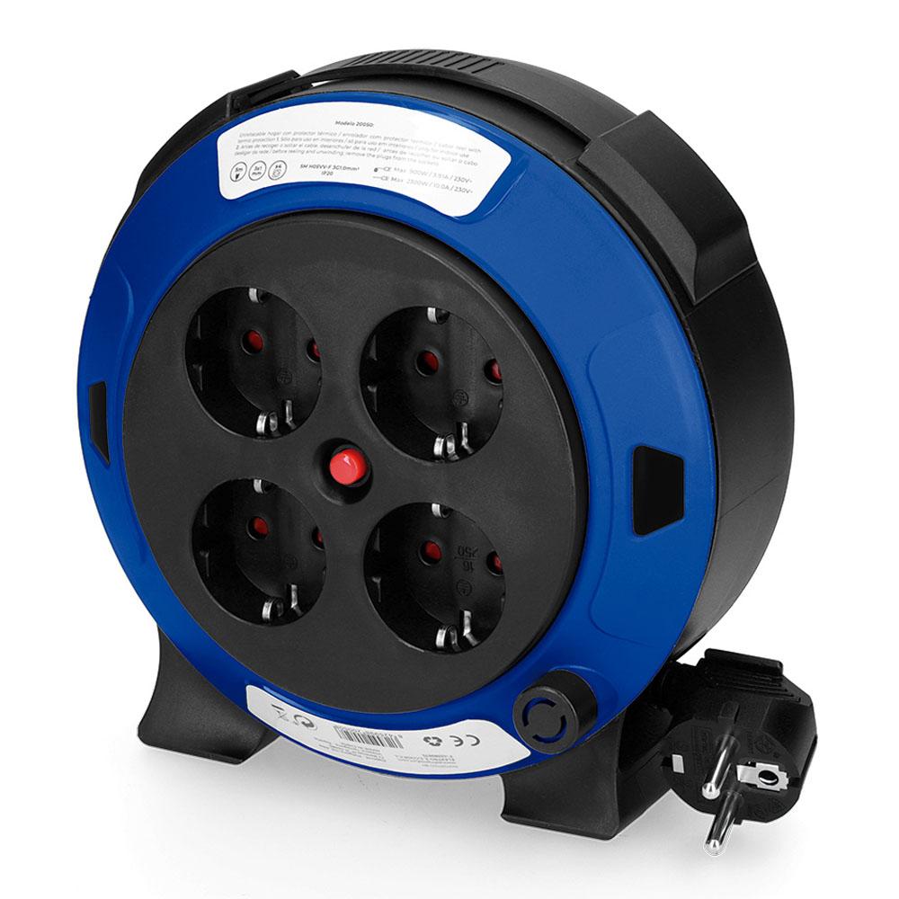Enrollacables Hogar 5Mts 3X1-4 Tomas T/Tl Con Protector Termico Edm