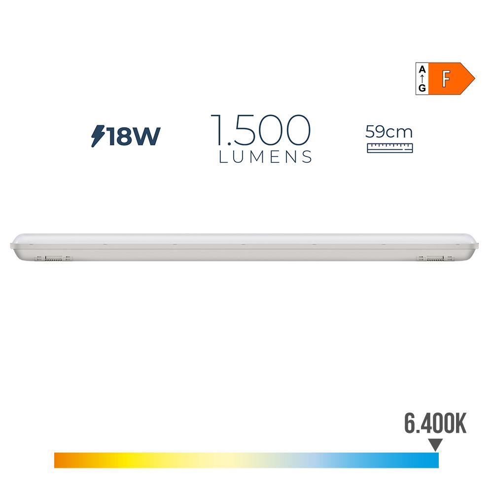 Regleta Estanca Led Ip65 18W 1500 Lumens 6.500K Luz Fria Edm