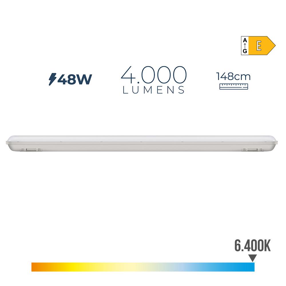 Regleta Estanca Led Ip65 48W 4000 Lumens 6.500K Luz Fria Edm