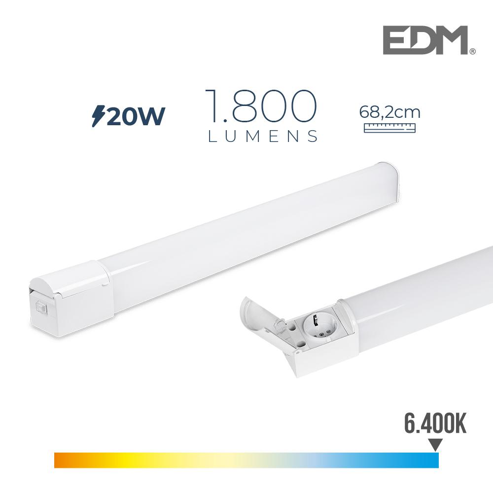 Regleta Led 20W 1800 Lumens 6.400K Luz Fria Con Base Schuko Y Tapa Ip44 Edm