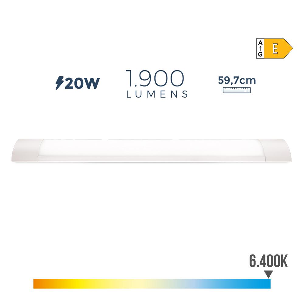 Regleta Electronica Led 20W 1900 Lumens 59Cm 6.400K Luz Fria Edm