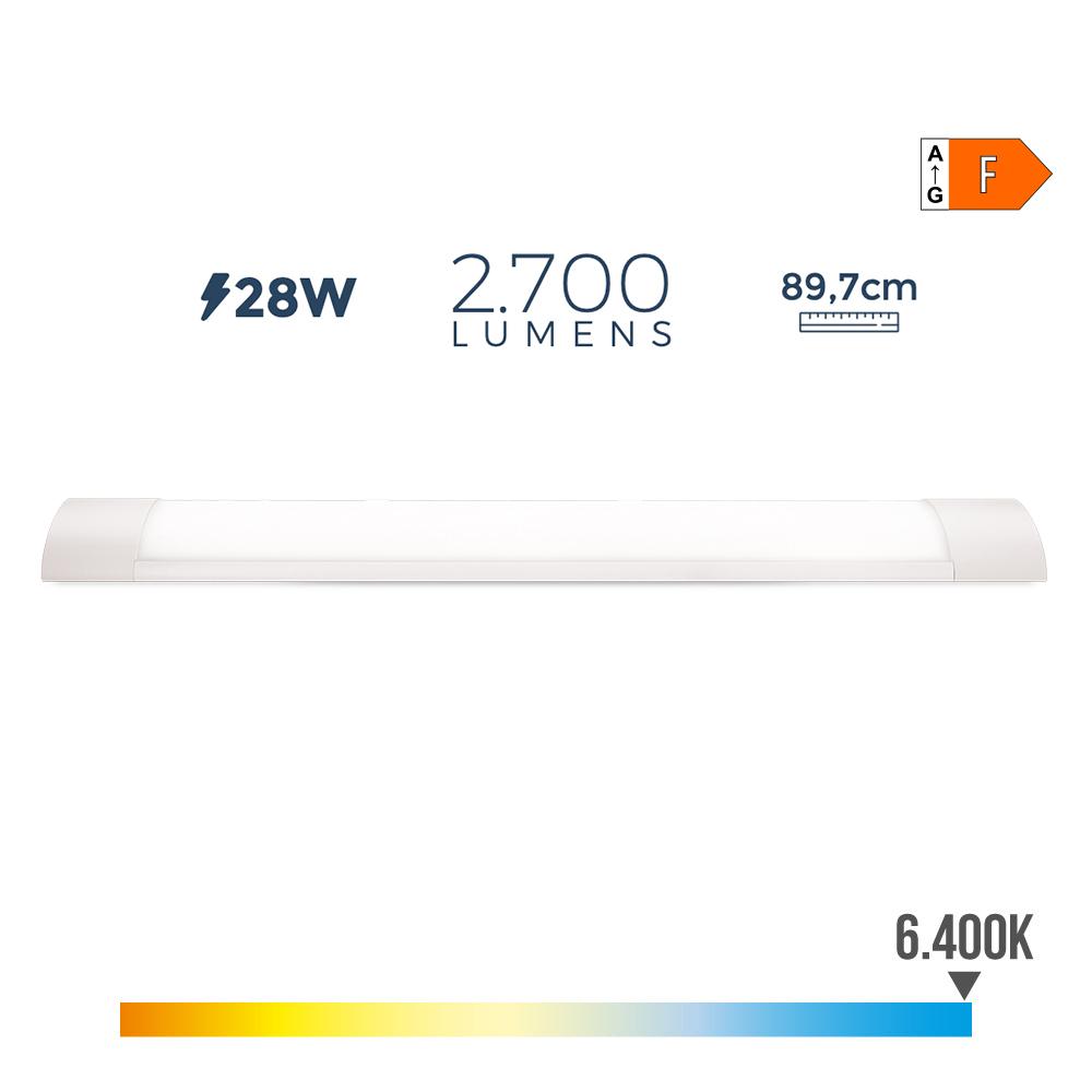 Regleta Electronica Led 28W 2700 Lumens 89Cm 6.400K Luz Fria Edm