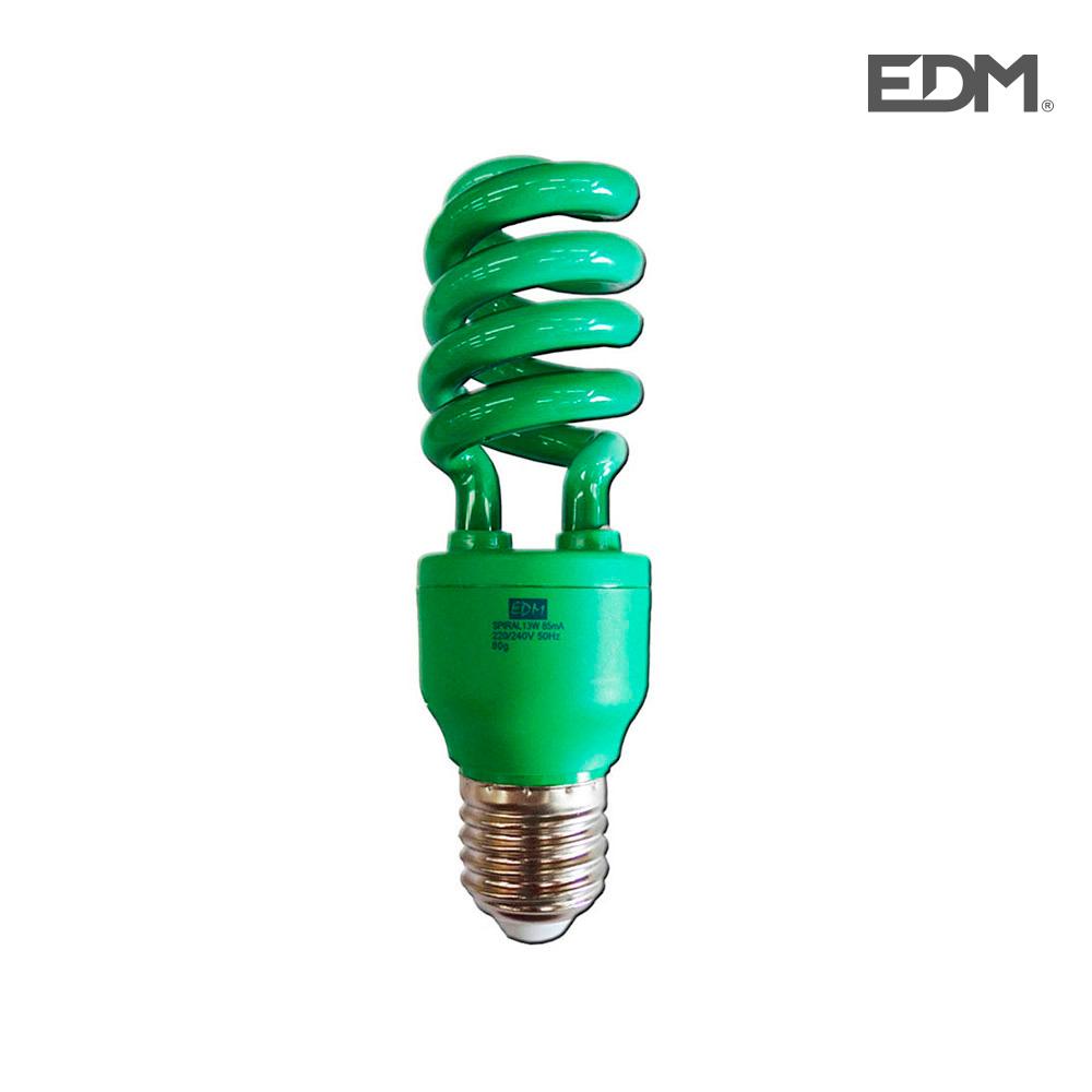 *Ult.Unidades* Bombilla Bajo Consumo Espiral 13W Luz Verde E27 Edm