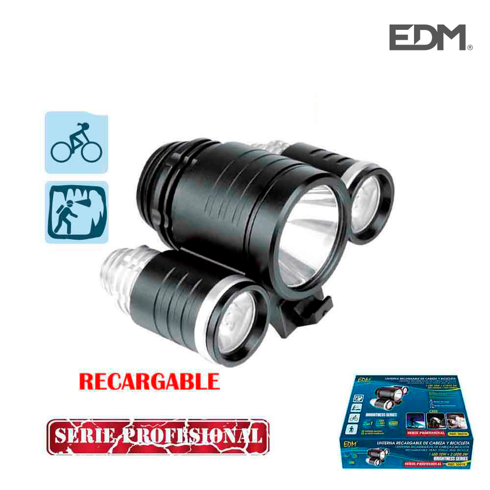 *Ult.Unidades* Linterna Recargable Para Bicicleta Y Cabeza  1Led 10W +2Leds 3W Cargador Y Bateria 8.4V (Incluidos)