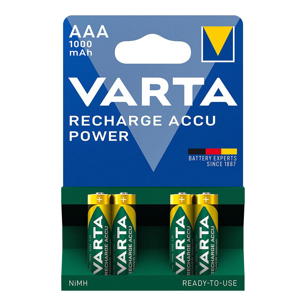 Pila Varta  Recargable  Accu Power Aaa Lr03 1000Mah Pack 4Uni
