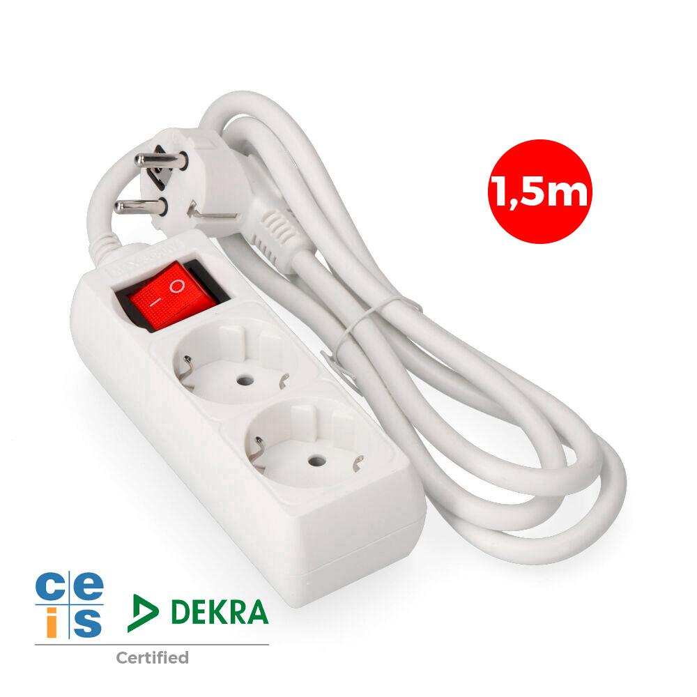 Base Multiple 2 Tomas Schuko  Con Interruptor 1,5 Mts. 3X1,5Mm Edm
