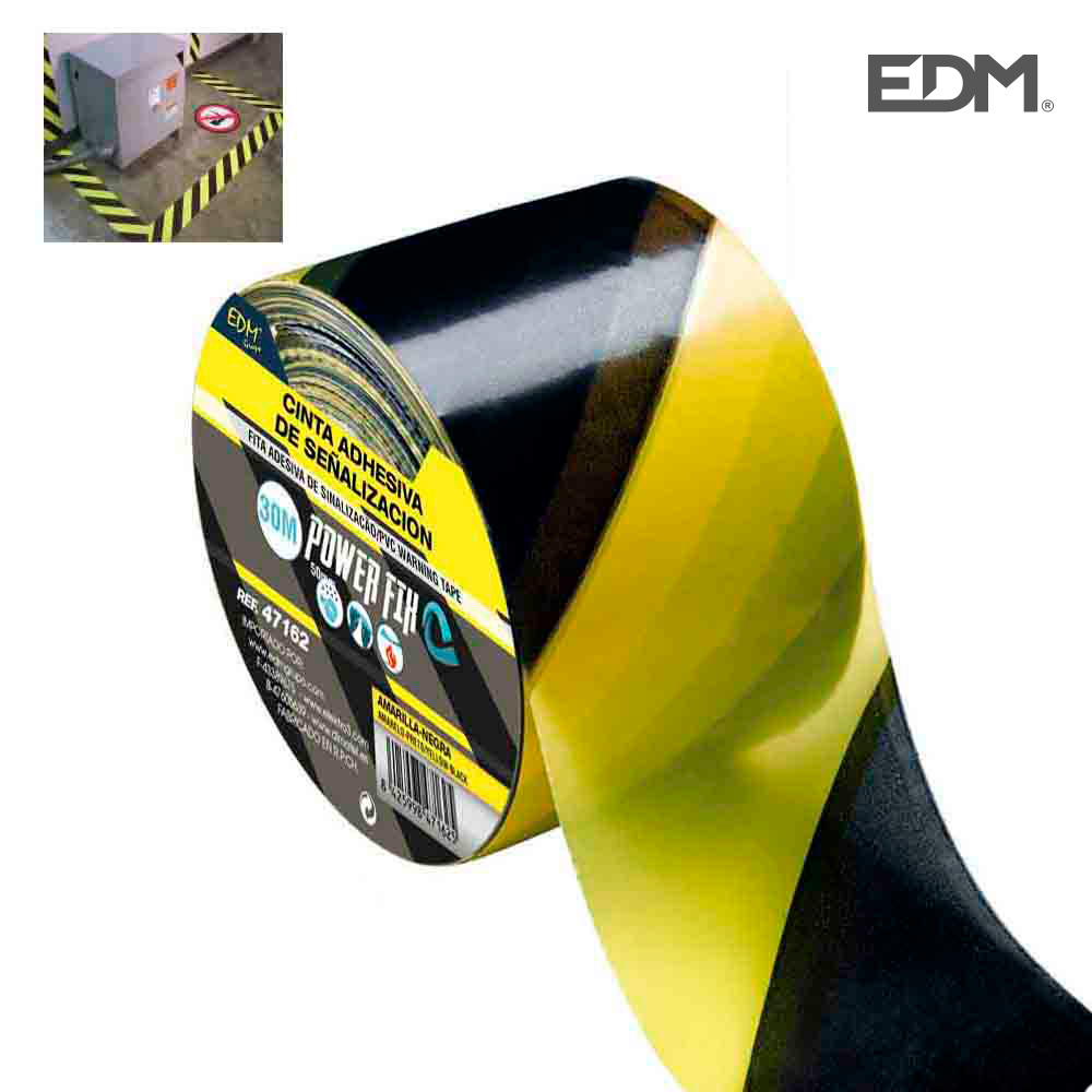 Cinta Adhesiva De Señalizacion Amarillo-Negra 30M X 50Mm Edm
