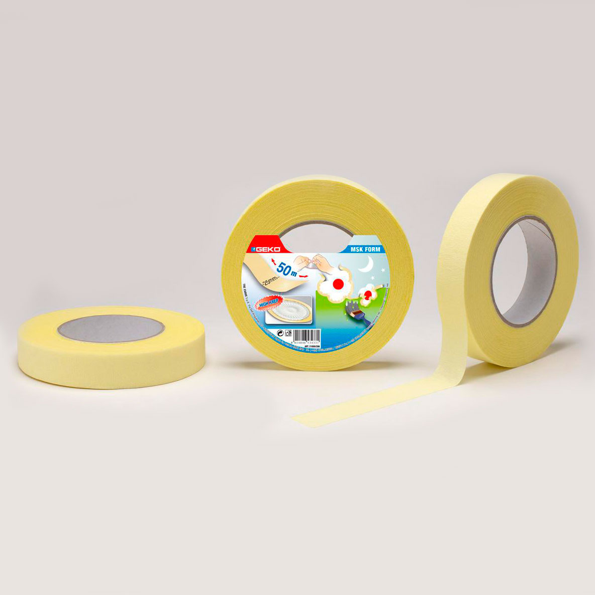 Cinta Masking Krep 25Mmx50Mts  Para Pintar Lineas Circulares Y Curvas