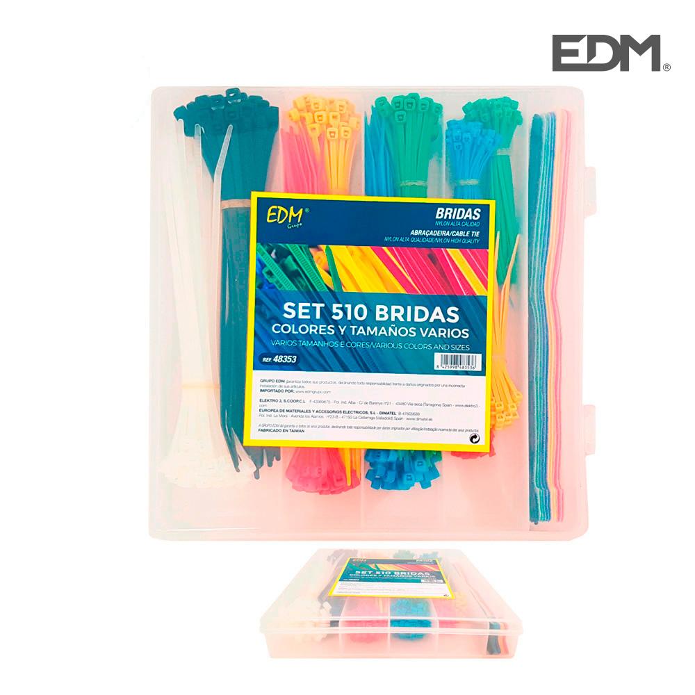 *Ult.Unidades* Set De 510 Bridas Colores Varios + Bridas De Velcro Presentacion En Caja