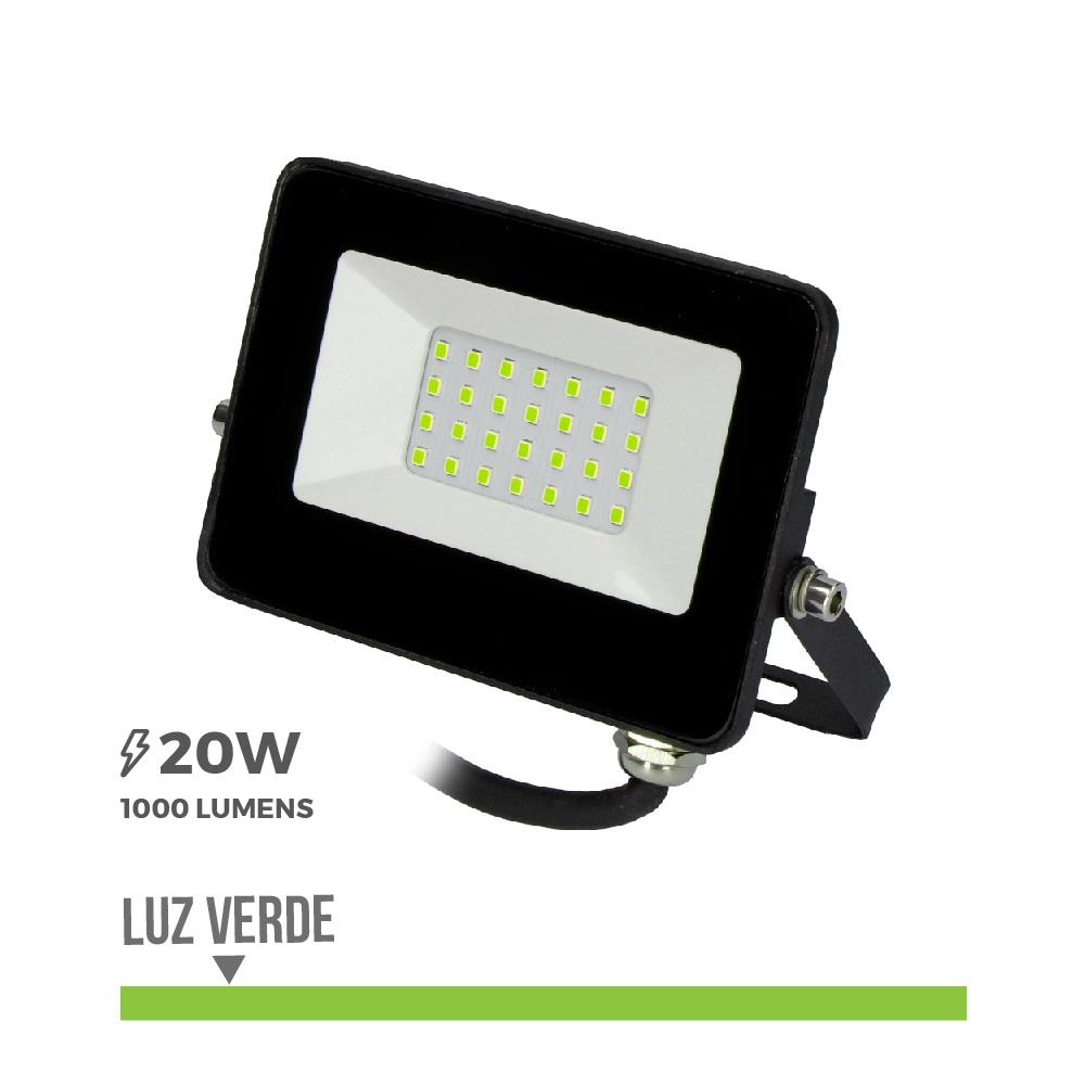 "Foco Proyector Led  20W Luz Verde ""Black Edition"" Edm"