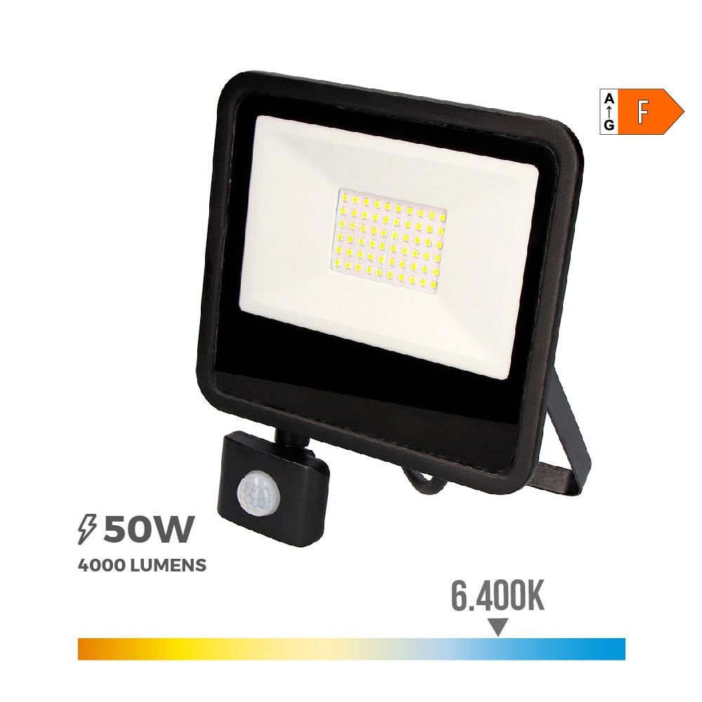 """Foco Proyector Led  50W 6400K Con Sensor De Presencia """"Black Edition""""  Edm"""