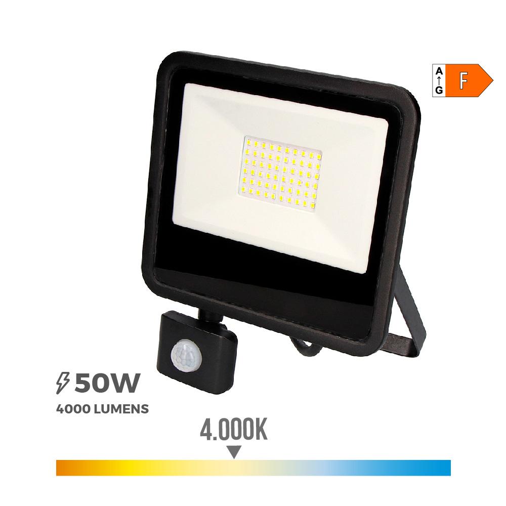 """Foco Proyector Led 50W 4000K Con Sensor De Presencia """"Black Edition""""  Edm"""