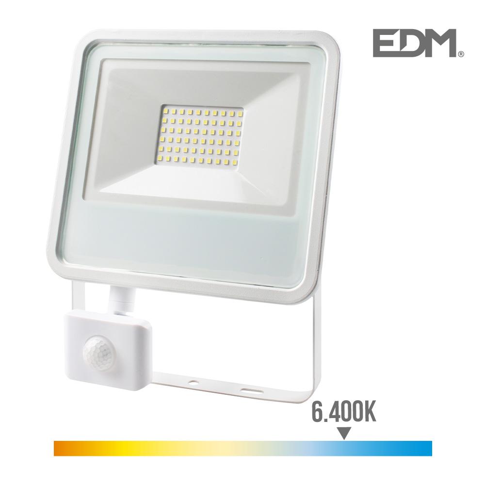 Foco Proyector Led  Extraplano Smd Ip44 220-240V 50W 6.400K Luz Fria 3500 Lumens Con Sensor De Presencia Edm