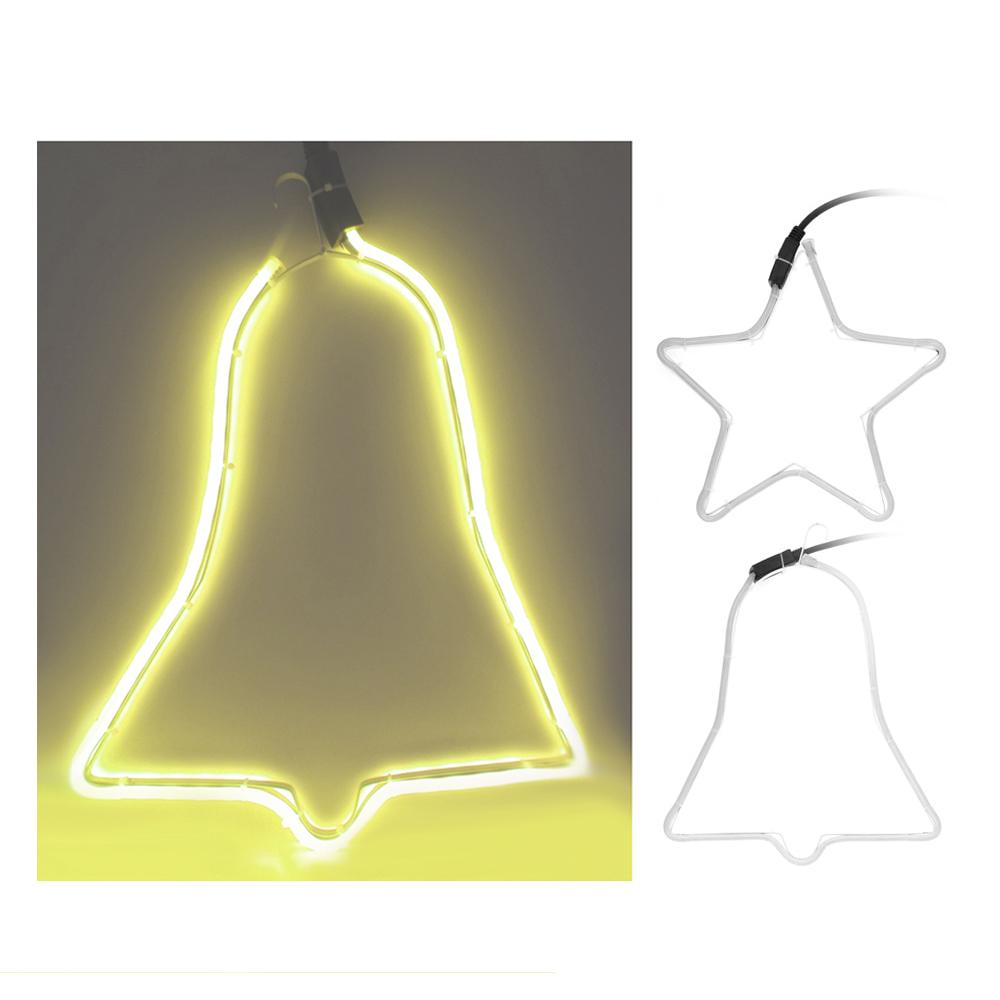 "*Ult. Unidades*  Figura Tubo Flexiled ""Efecto Neon"" Amarillo Medidas: Campana 39,5X29Cm Estrella 29,5X29,5Cm Diseño Surtidos"