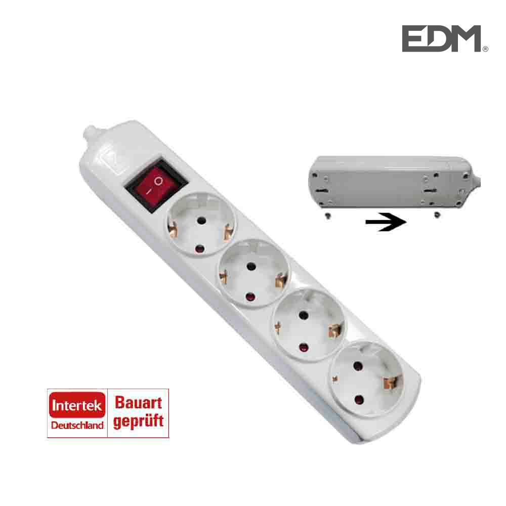 *Ult.Unidades* Base Multiple 4 Tomas Easy-Fix Con Inter. T/Tl 10/16A Edm