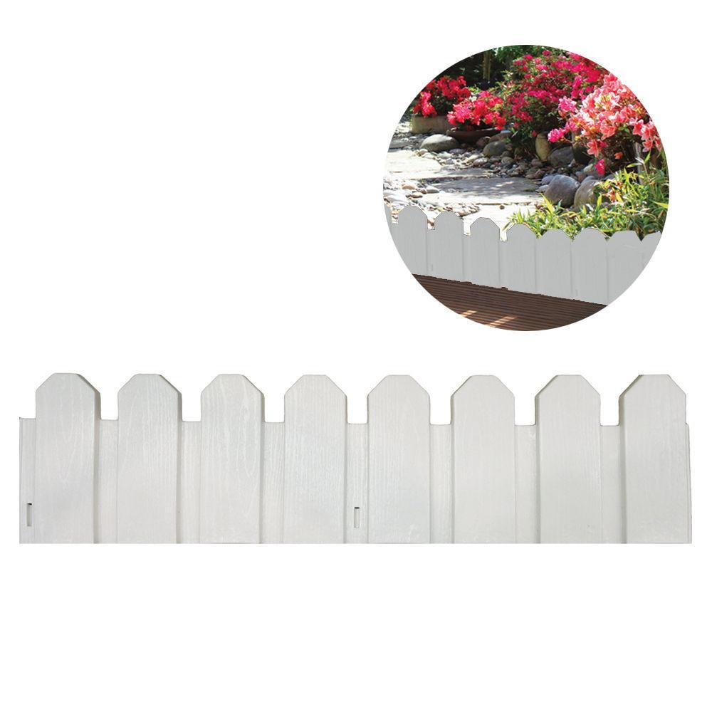 *Ult. Unidades* Bordura De Polietileno Color Blanco 20X80Cm (Pack 4 Unid.) Inclye Piqueta De Fijacion