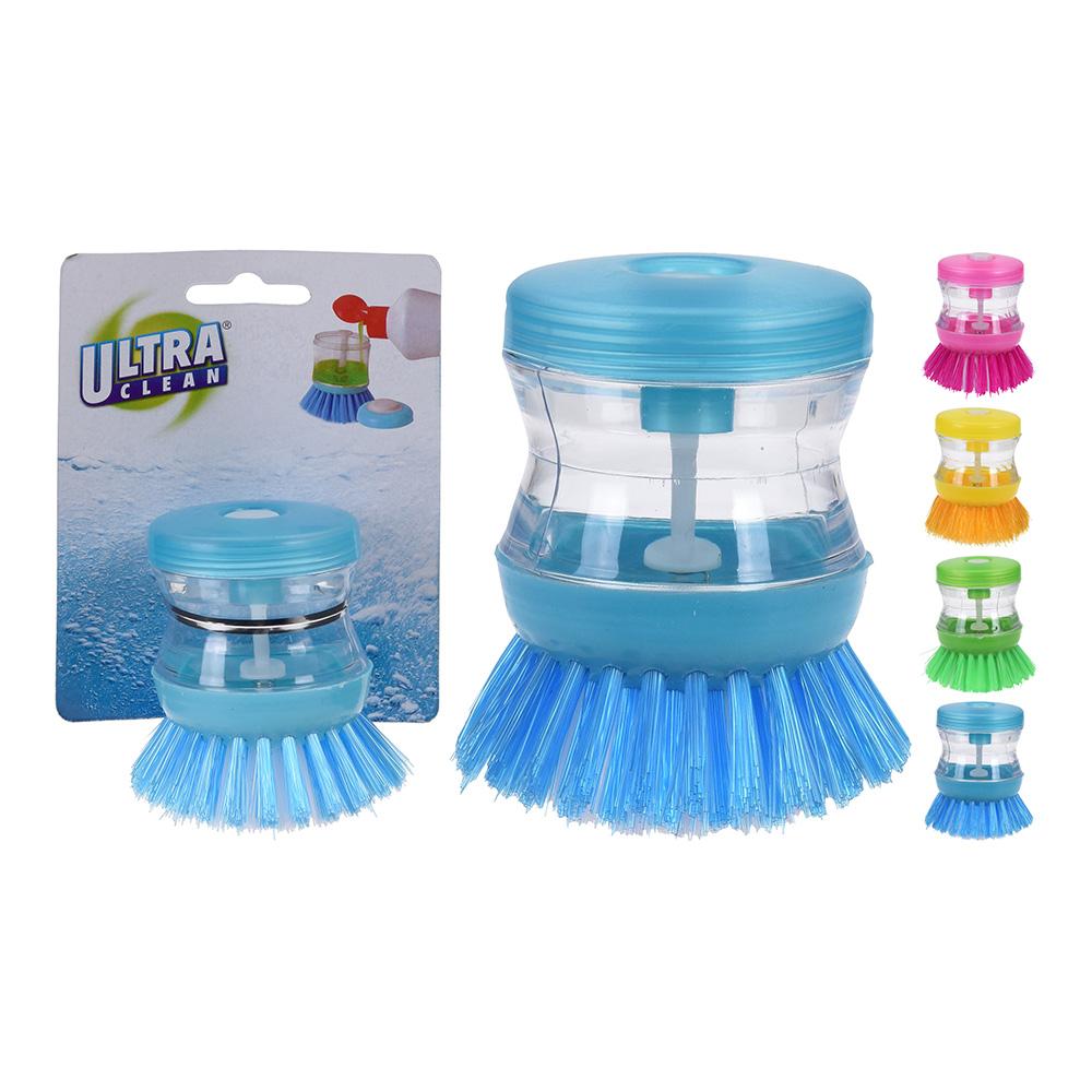 Cepillo De Limpieza De Platos, Etc. Con Dosificador De Jabon (Colores Surtidos)