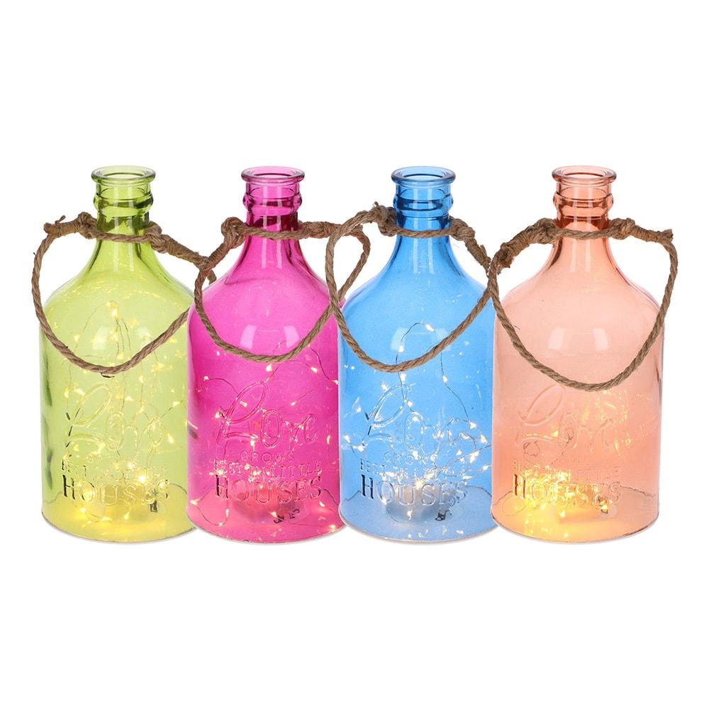 *Ult. Unidades* Botella De Cristal Decorativa Con 20 Leds Modelos Surtidos