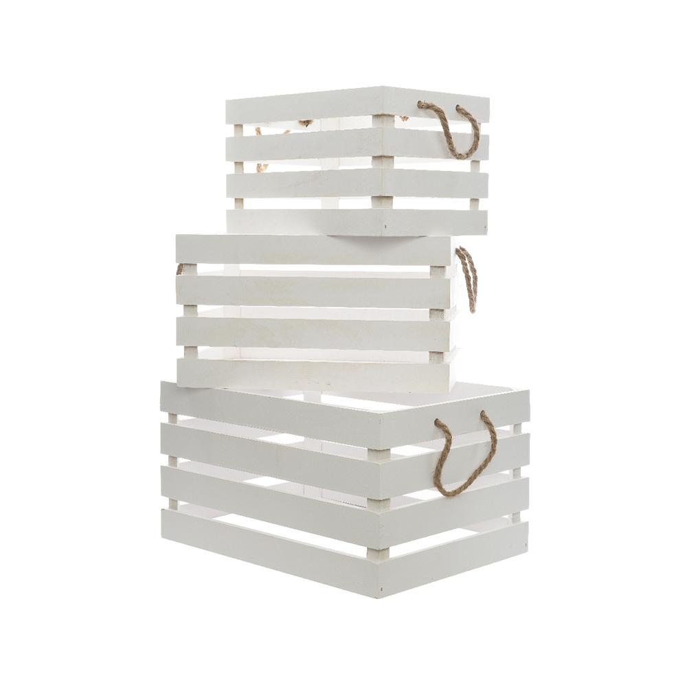 Caja De Madera Con Asa De Cuerda Set De 3 Unidades Color Blanco