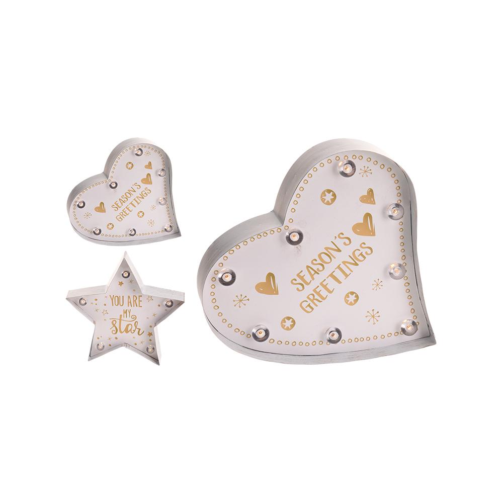 *Ult. Unidades* Figura Decorativa Led  A Pilas 24Cm Modelos Surtidos (Corazon Y Estrella)