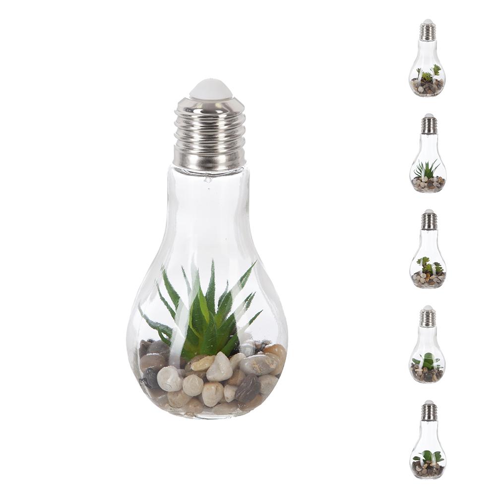 Bombilla Decorativa 9X18,5Cm  Led Con Piedras Y Plantas Modelos Surtidos