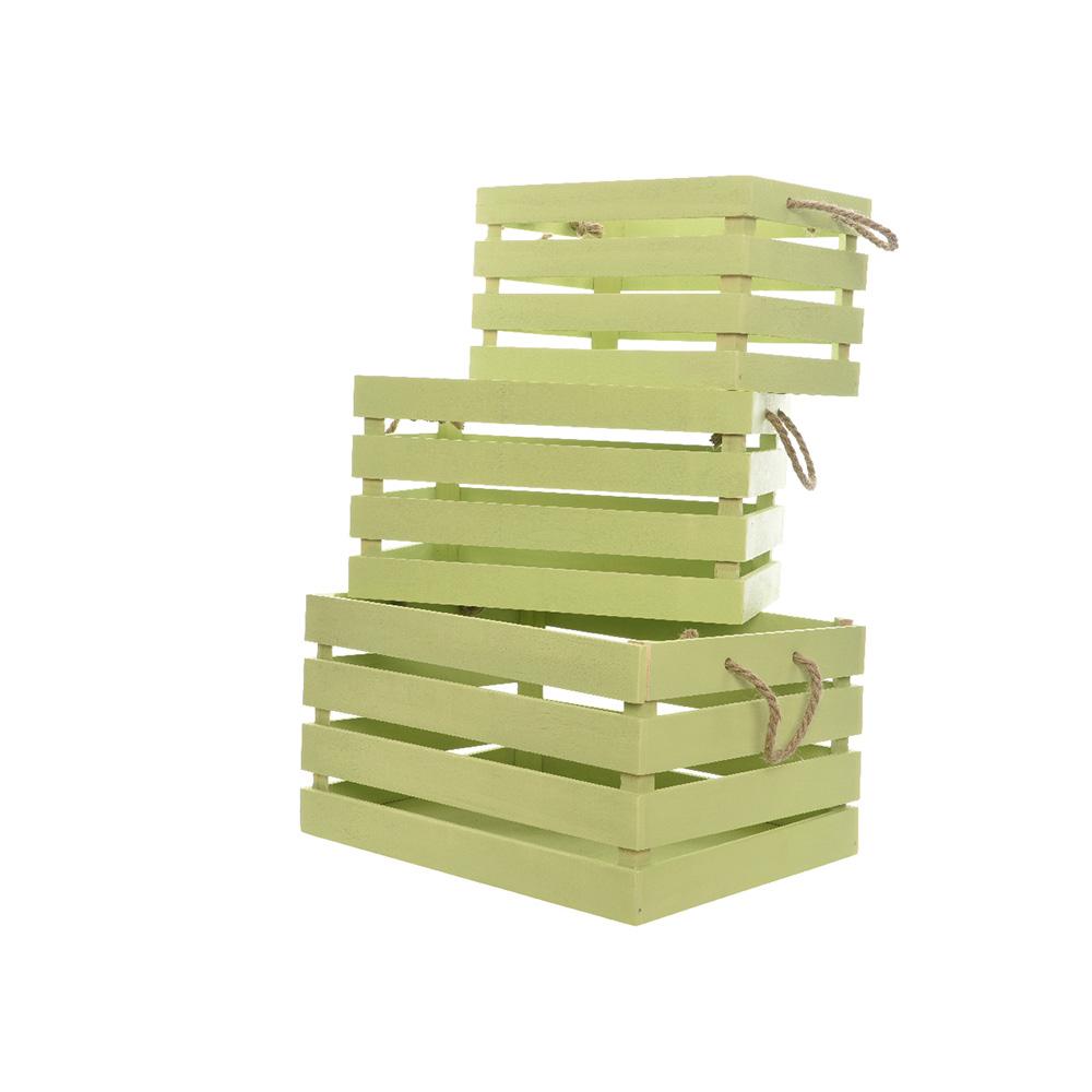 *Ult. Unidades*  Caja De Madera Con Asa De Cuerda Set De 3 Unidades Color Verde