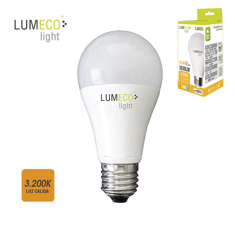 *Ult.Unidades*Bombilla Standard Led - E27 - 16,5W - 1630 Lumens - 3200K - Luz Calida - Lumeco