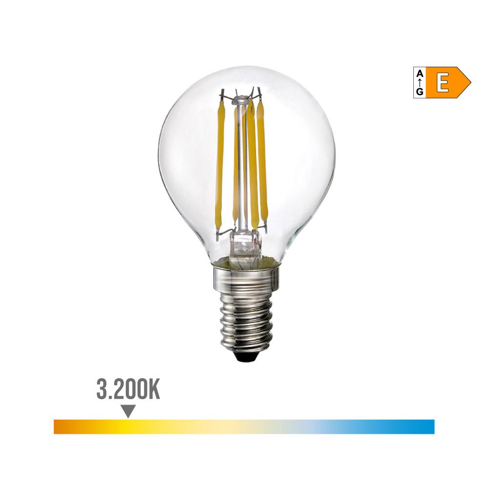 Bombilla Esferica Filamento Led E14 4W 400 Lm 3200K Luz Calida Edm