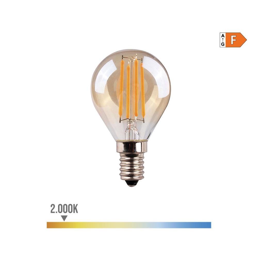 Bombilla Esferica Filamento Led Cristal Vintage 4,5W E14 350 Lumens 2.000K Edm