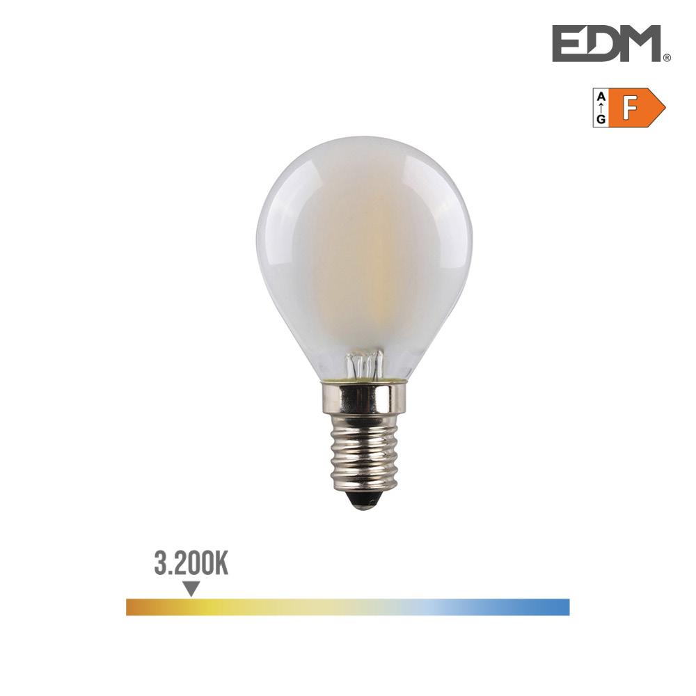 Bombilla Esferica Filamento Led Mate 4,5W E14 470 3.200K Luz Calida Edm
