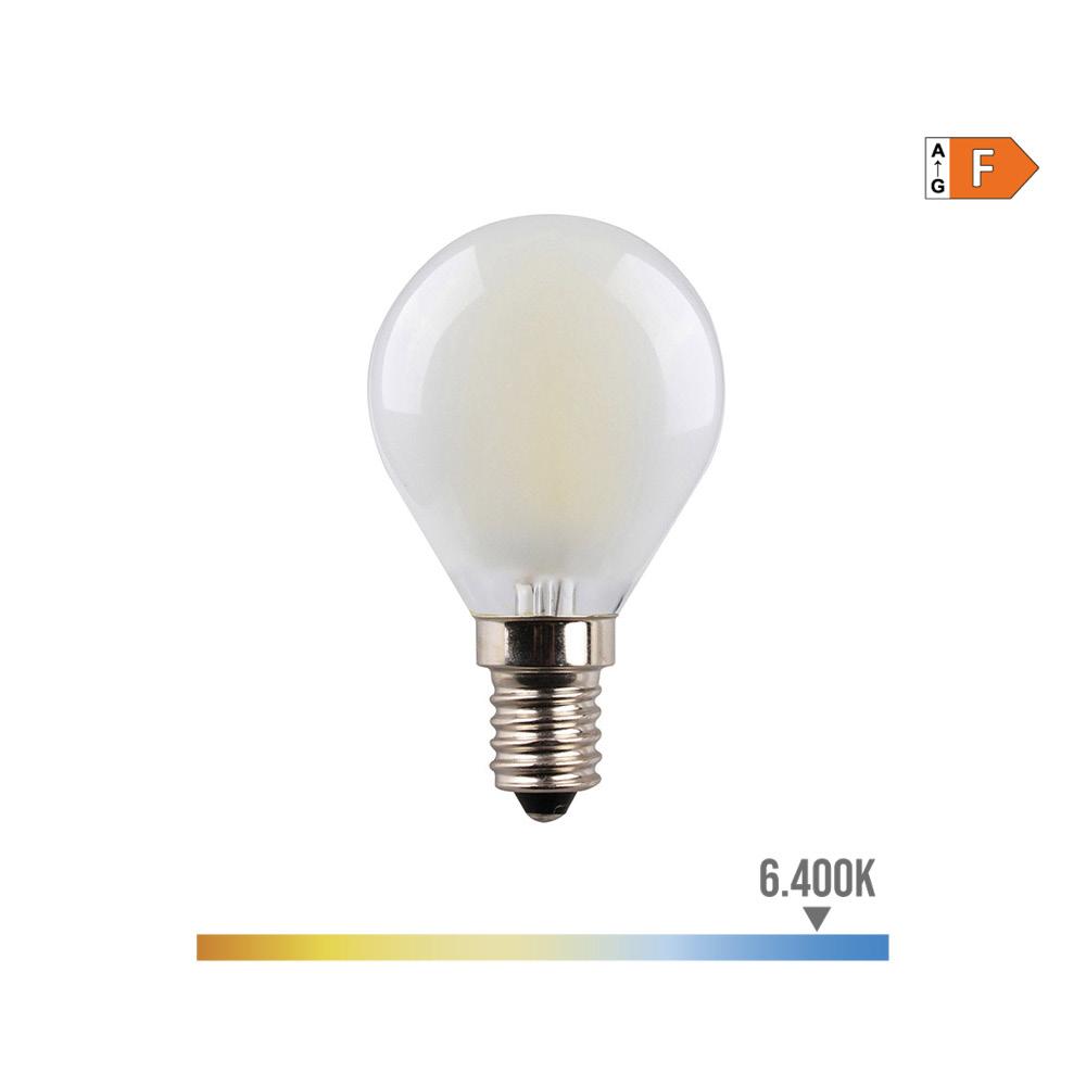 Bombilla Esferica Filamento Led Mate 4,5W E14 470 Lumens 6.400K Luz Fria Edm