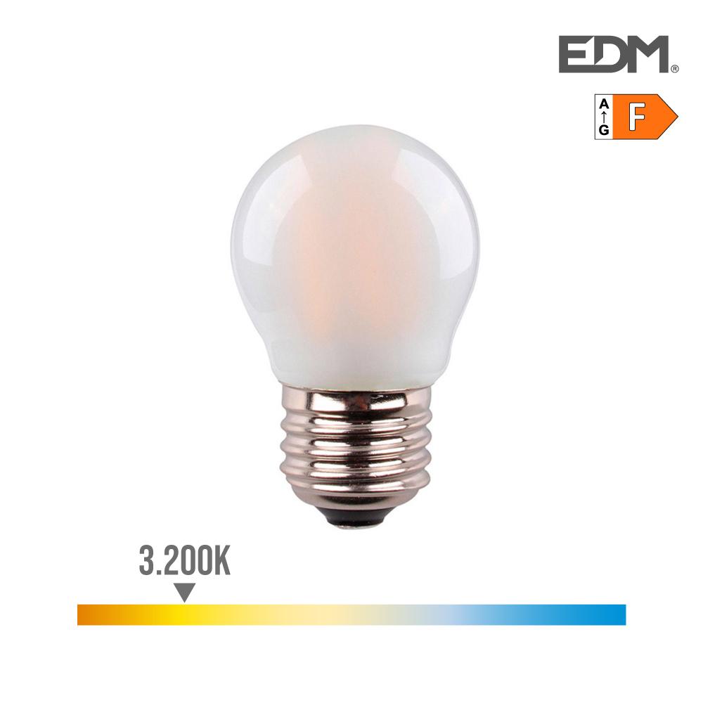 Bombilla Esferica Filamento Led Mate 4,5W E27 470 Lumens 3.200K Luz Calida Edm