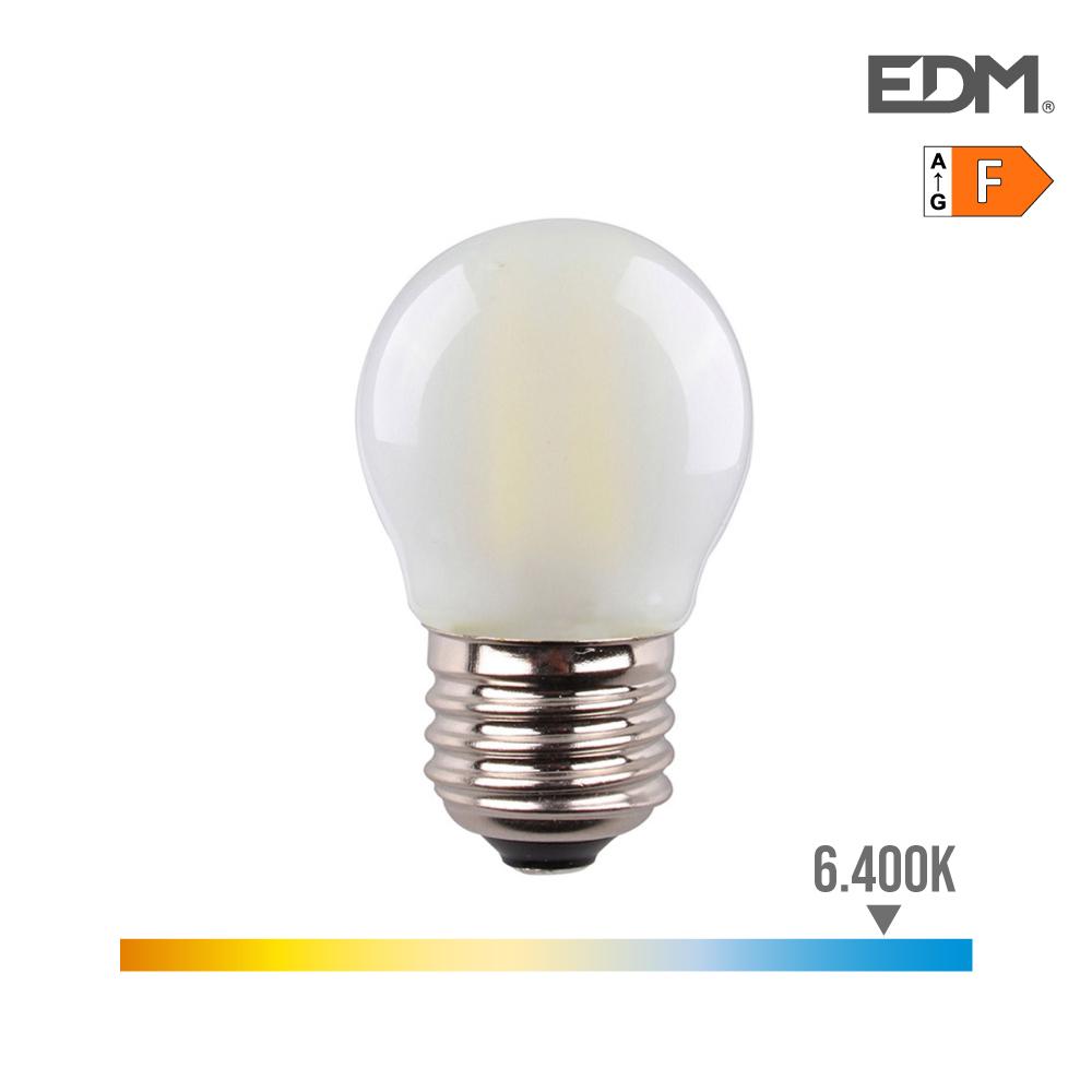 Bombilla Esferica Filamento Led Mate 4,5W E27 470 Lumens 6.400K Luz Fria Edm